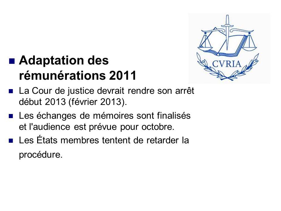 Adaptation des rémunérations 2011 La Cour de justice devrait rendre son arrêt début 2013 (février 2013).