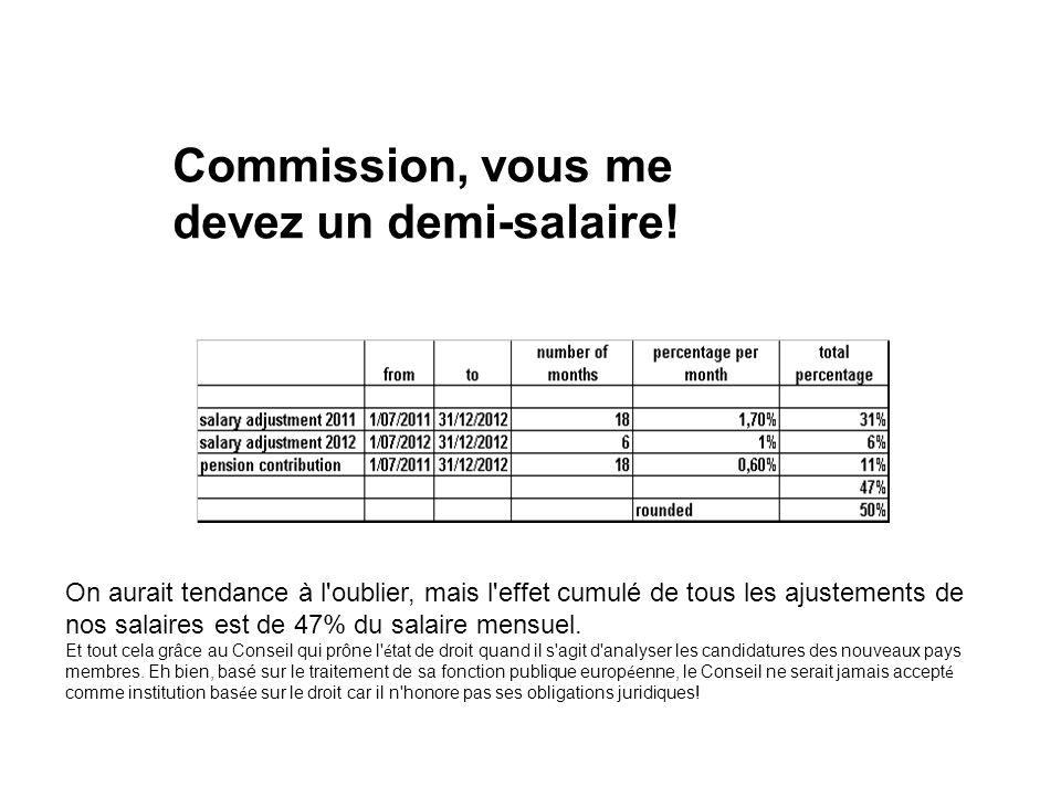 Commission, vous me devez un demi-salaire.