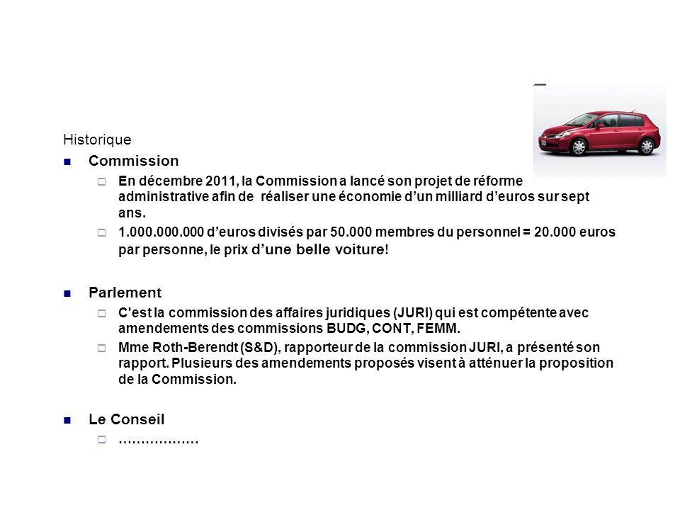Historique Commission En décembre 2011, la Commission a lancé son projet de réforme administrative afin de réaliser une économie dun milliard deuros sur sept ans.