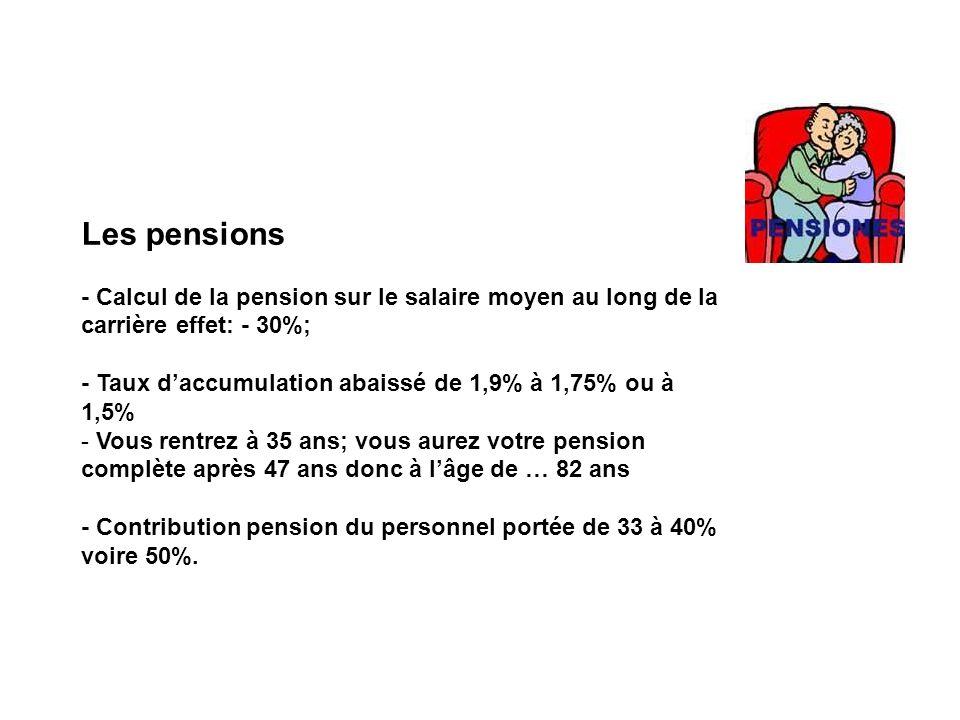 Les pensions - Calcul de la pension sur le salaire moyen au long de la carrière effet: - 30%; - Taux daccumulation abaissé de 1,9% à 1,75% ou à 1,5% - Vous rentrez à 35 ans; vous aurez votre pension complète après 47 ans donc à lâge de … 82 ans - Contribution pension du personnel portée de 33 à 40% voire 50%.