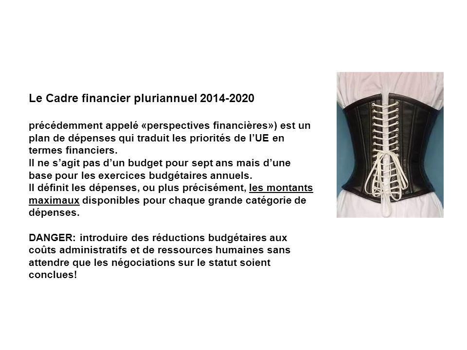 Le Cadre financier pluriannuel 2014-2020 précédemment appelé «perspectives financières») est un plan de dépenses qui traduit les priorités de lUE en termes financiers.