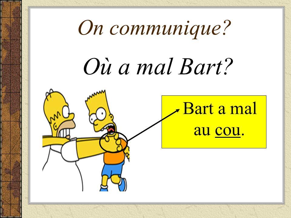 On communique? Où a mal Homer? Homer a mal à la tête.