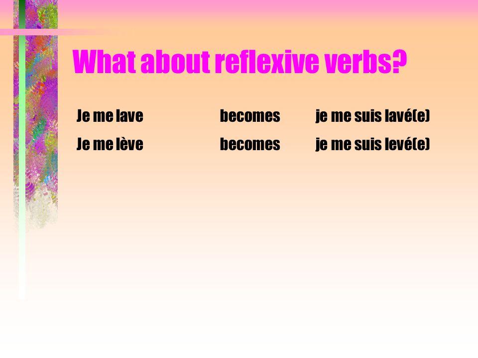 What about reflexive verbs? Je me lavebecomesje me suis lavé(e) Je me lèvebecomesje me suis levé(e)