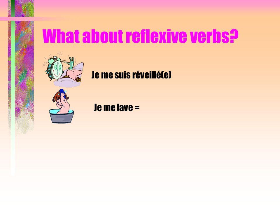 What about reflexive verbs? Je me suis réveillé(e) Je me lave =