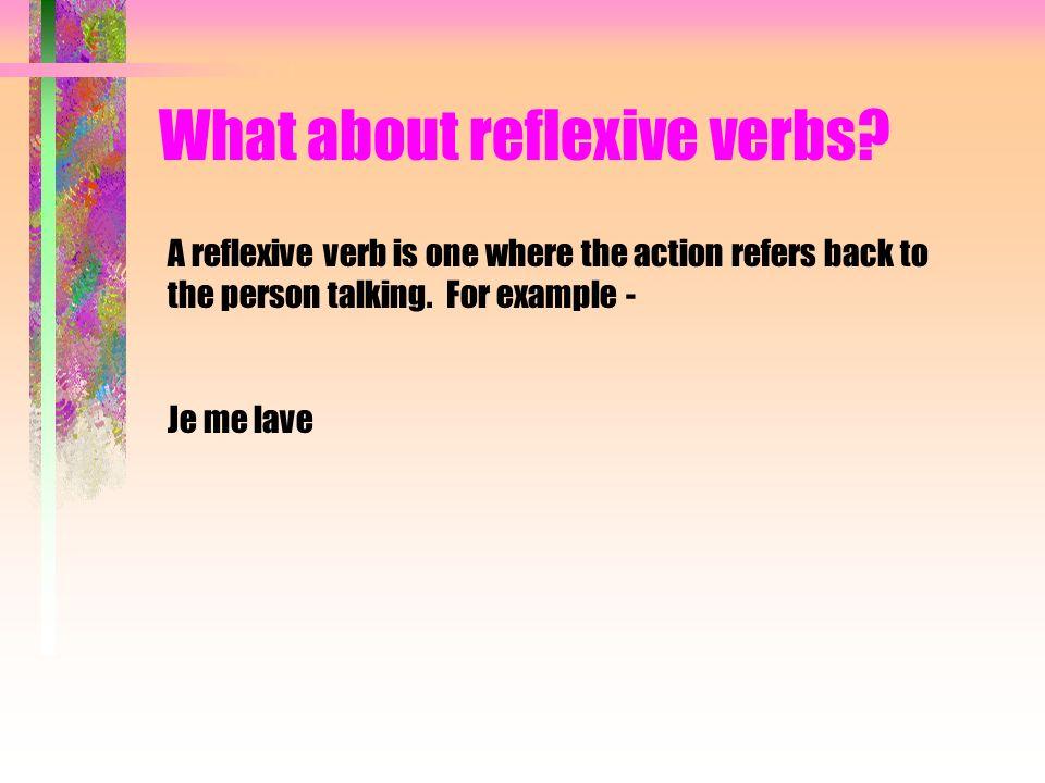 What about reflexive verbs? Je me réveille