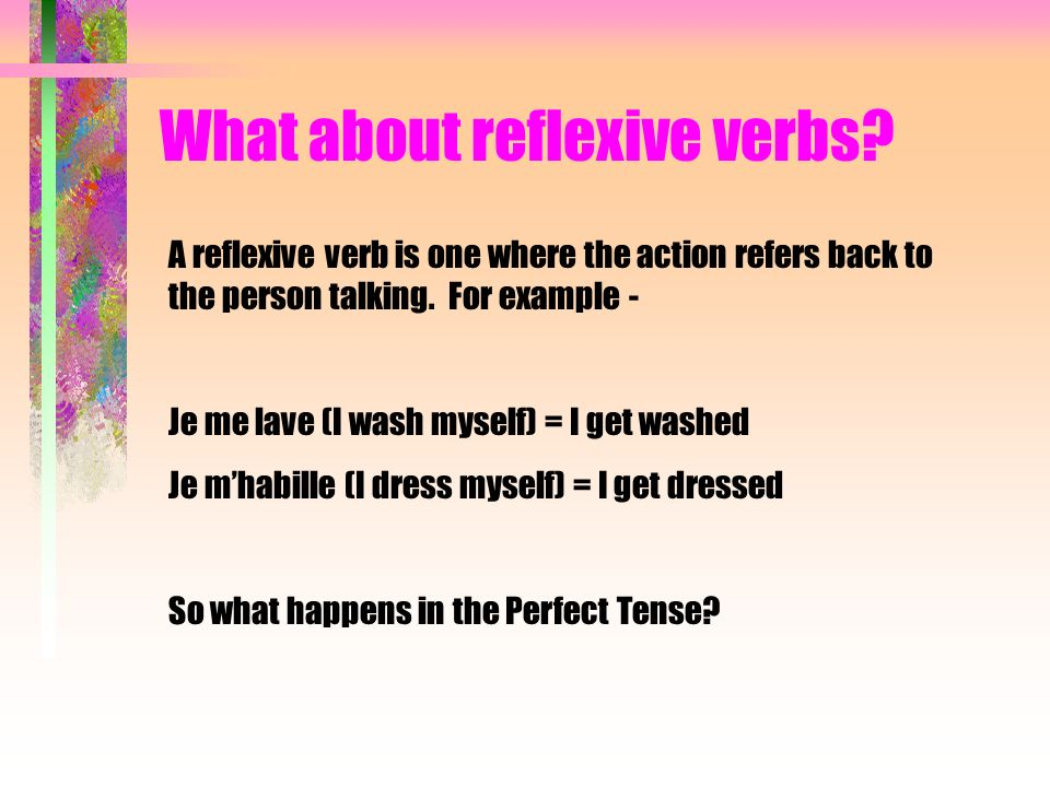 What about reflexive verbs? Je me lavebecomes