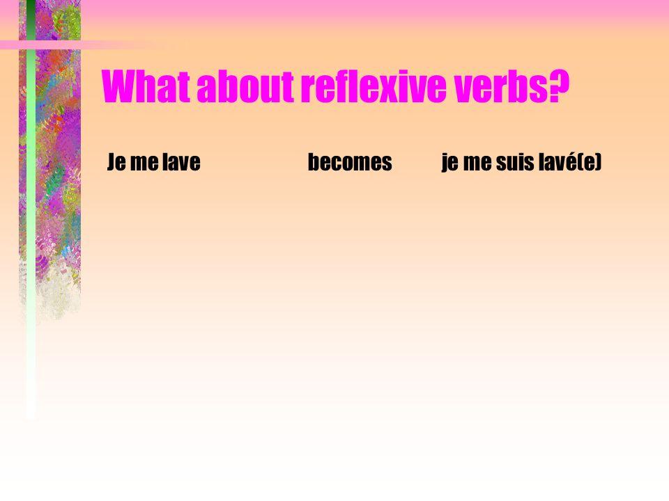 What about reflexive verbs? Je me lavebecomesje me suis lavé(e) Je me lèvebecomes