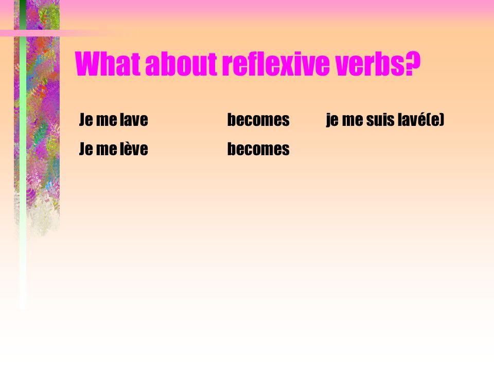 What about reflexive verbs? Je me suis couché(e)