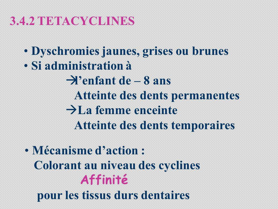 3.4.2 TETACYCLINES Dyschromies jaunes, grises ou brunes Si administration à lenfant de – 8 ans Atteinte des dents permanentes La femme enceinte Attein