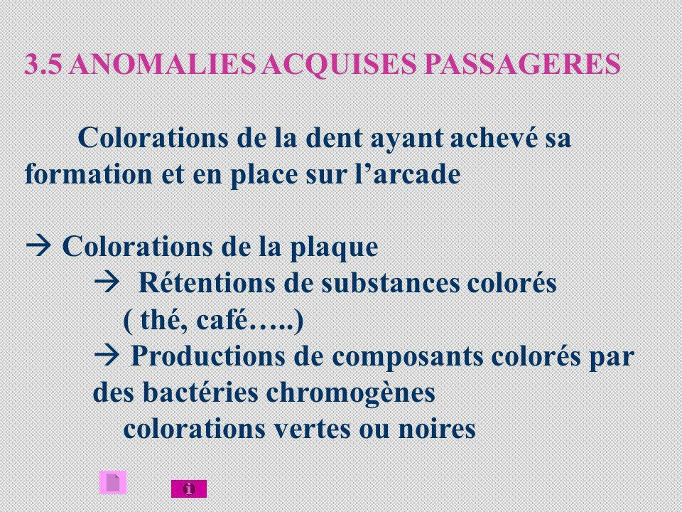 3.5 ANOMALIES ACQUISES PASSAGERES Colorations de la dent ayant achevé sa formation et en place sur larcade Colorations de la plaque Rétentions de substances colorés ( thé, café…..) Productions de composants colorés par des bactéries chromogènes colorations vertes ou noires