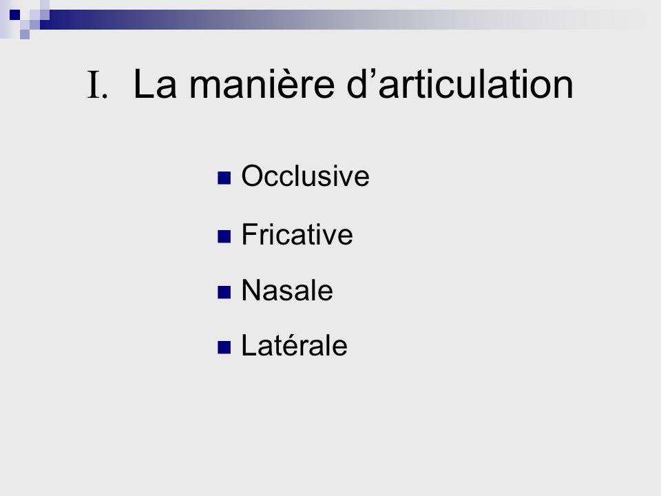 I. La manière darticulation Occlusive Fricative Nasale Latérale
