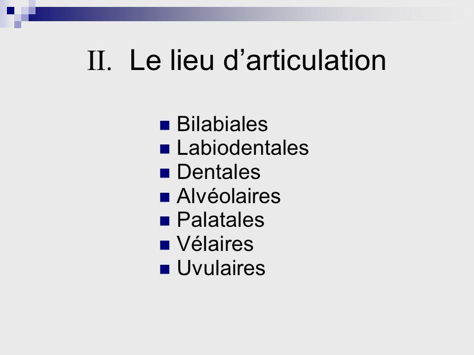 II. Le lieu darticulation Bilabiales Labiodentales Dentales Alvéolaires Palatales Vélaires Uvulaires