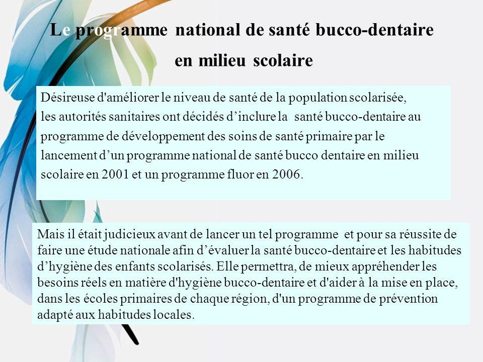 Le programme national de santé bucco-dentaire en milieu scolaire Désireuse d'améliorer le niveau de santé de la population scolarisée, les autorités s