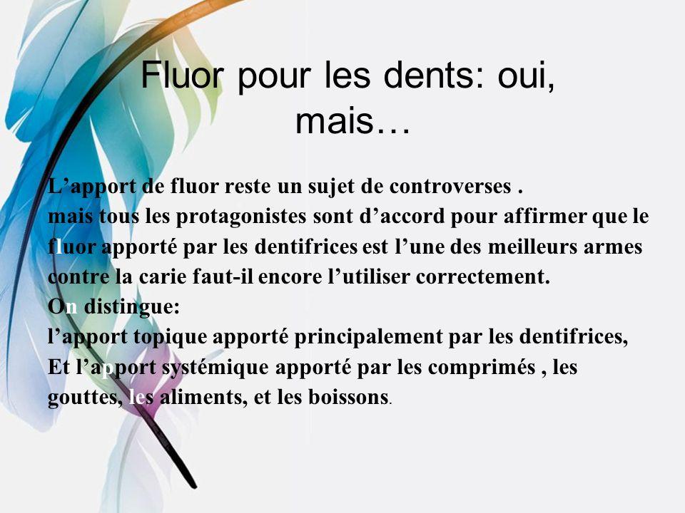 Fluor pour les dents: oui, mais… Lapport de fluor reste un sujet de controverses. mais tous les protagonistes sont daccord pour affirmer que le fluor