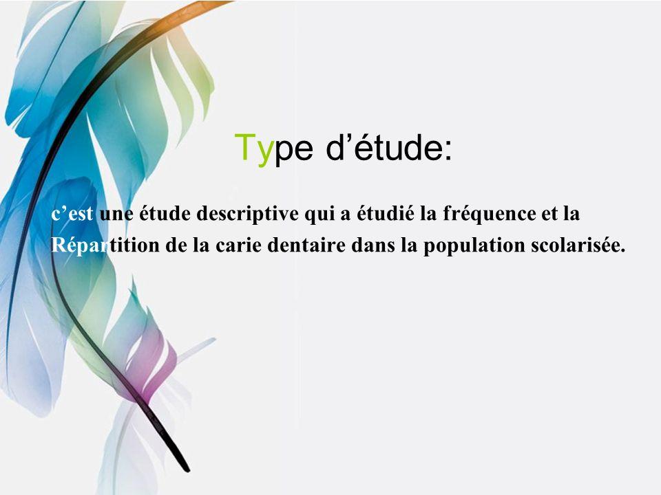 Type détude: cest une étude descriptive qui a étudié la fréquence et la Répartition de la carie dentaire dans la population scolarisée.