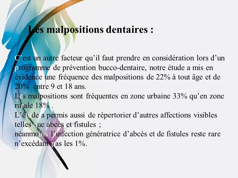 Les malpositions dentaires : Cest un autre facteur quil faut prendre en considération lors dun programme de prévention bucco-dentaire, notre étude a m