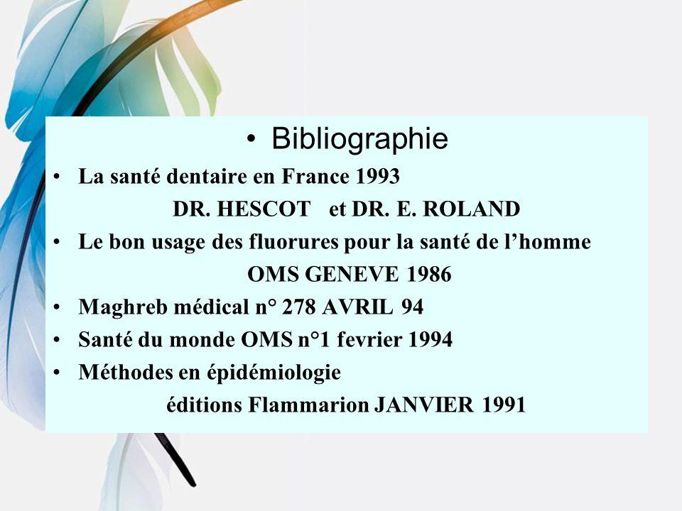 Bibliographie La santé dentaire en France 1993 DR. HESCOT et DR. E. ROLAND Le bon usage des fluorures pour la santé de lhomme OMS GENEVE 1986 Maghreb