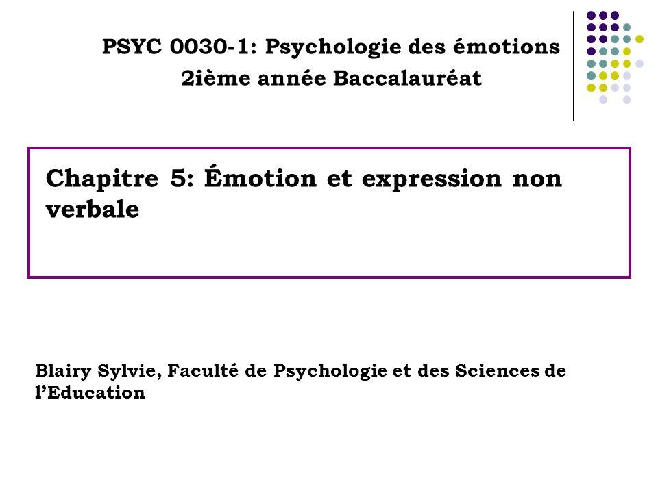 Chapitre 5: Émotion et expression non verbale PSYC 0030-1: Psychologie des émotions 2ième année Baccalauréat Blairy Sylvie, Faculté de Psychologie et