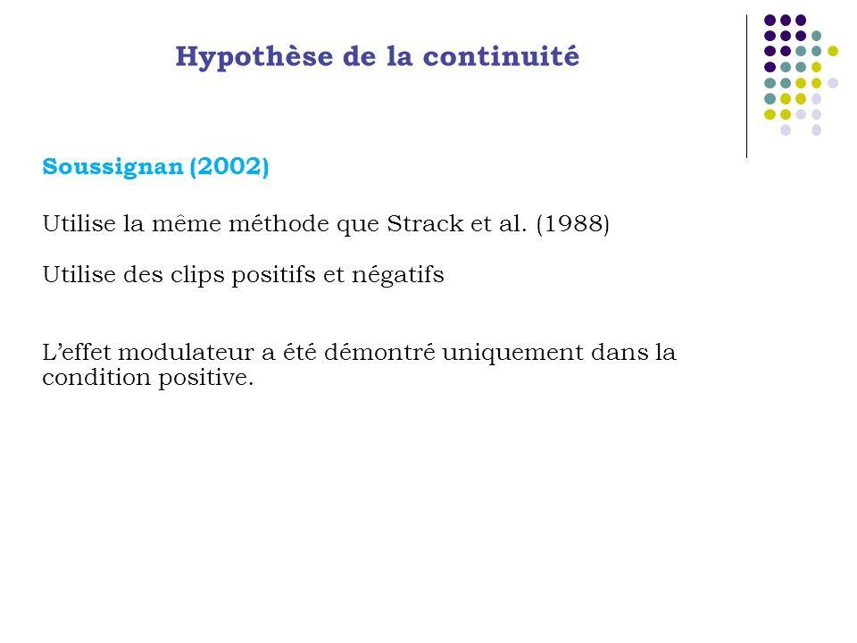 Hypothèse de la continuité Soussignan (2002) Utilise la même méthode que Strack et al. (1988) Utilise des clips positifs et négatifs Leffet modulateur