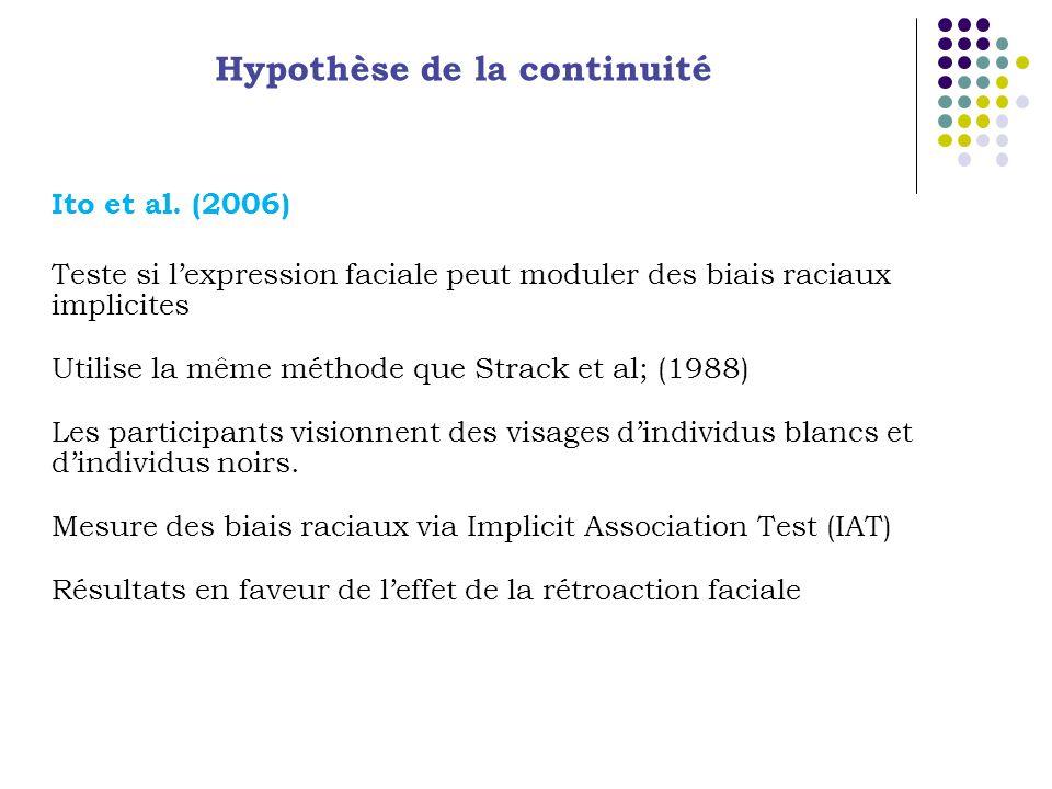 Hypothèse de la continuité Ito et al. (2006) Teste si lexpression faciale peut moduler des biais raciaux implicites Utilise la même méthode que Strack