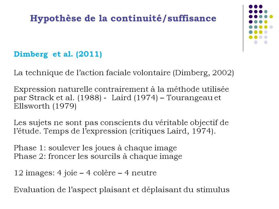Hypothèse de la continuité/suffisance Dimberg et al. (2011) La technique de laction faciale volontaire (Dimberg, 2002) Expression naturelle contrairem