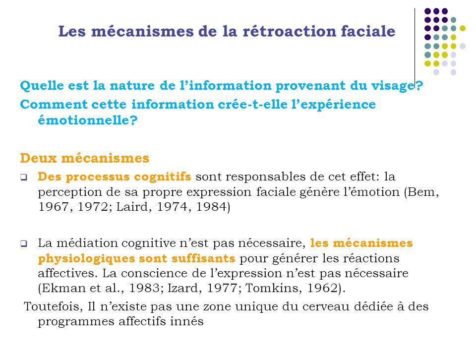 Quelle est la nature de linformation provenant du visage? Comment cette information crée-t-elle lexpérience émotionnelle? Deux mécanismes Des processu