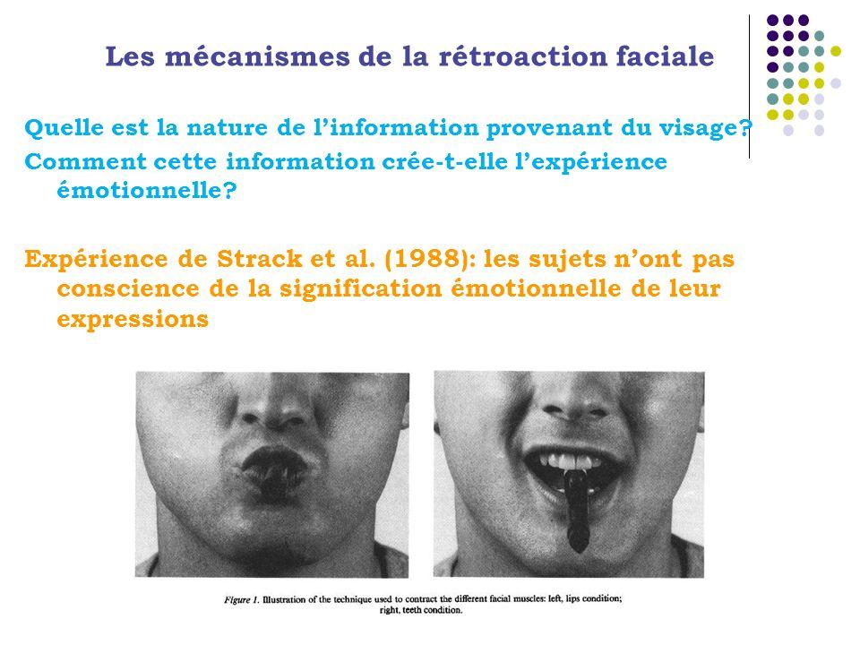 Quelle est la nature de linformation provenant du visage? Comment cette information crée-t-elle lexpérience émotionnelle? Expérience de Strack et al.