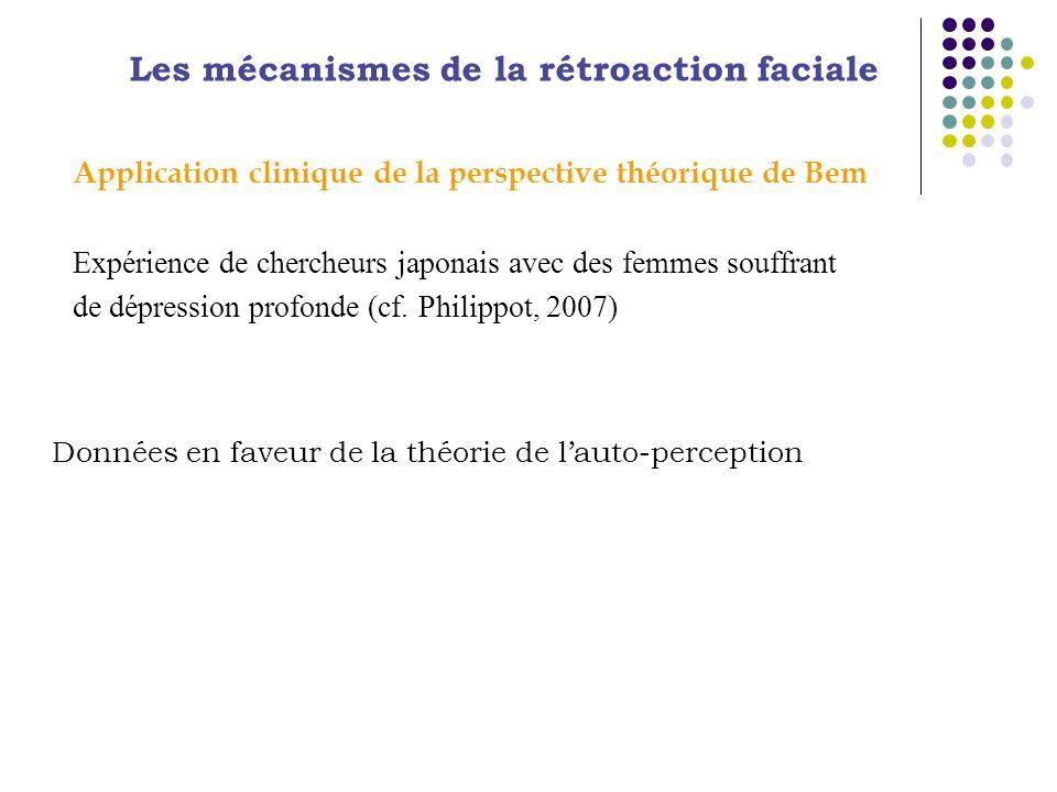 Application clinique de la perspective théorique de Bem Expérience de chercheurs japonais avec des femmes souffrant de dépression profonde (cf. Philip