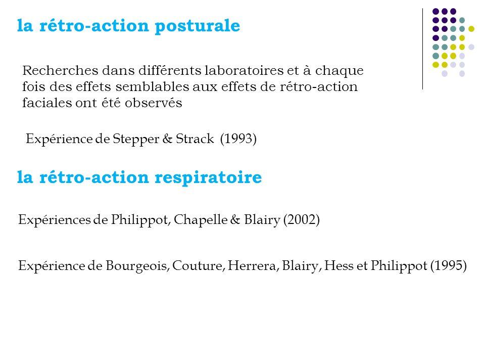 la rétro-action posturale la rétro-action respiratoire Expérience de Stepper & Strack (1993) Recherches dans différents laboratoires et à chaque fois des effets semblables aux effets de rétro-action faciales ont été observés Expériences de Philippot, Chapelle & Blairy (2002) Expérience de Bourgeois, Couture, Herrera, Blairy, Hess et Philippot (1995)