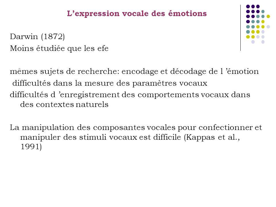 Lexpression vocale des émotions Darwin (1872) Moins étudiée que les efe mêmes sujets de recherche: encodage et décodage de l émotion difficultés dans la mesure des paramètres vocaux difficultés d enregistrement des comportements vocaux dans des contextes naturels La manipulation des composantes vocales pour confectionner et manipuler des stimuli vocaux est difficile (Kappas et al., 1991)
