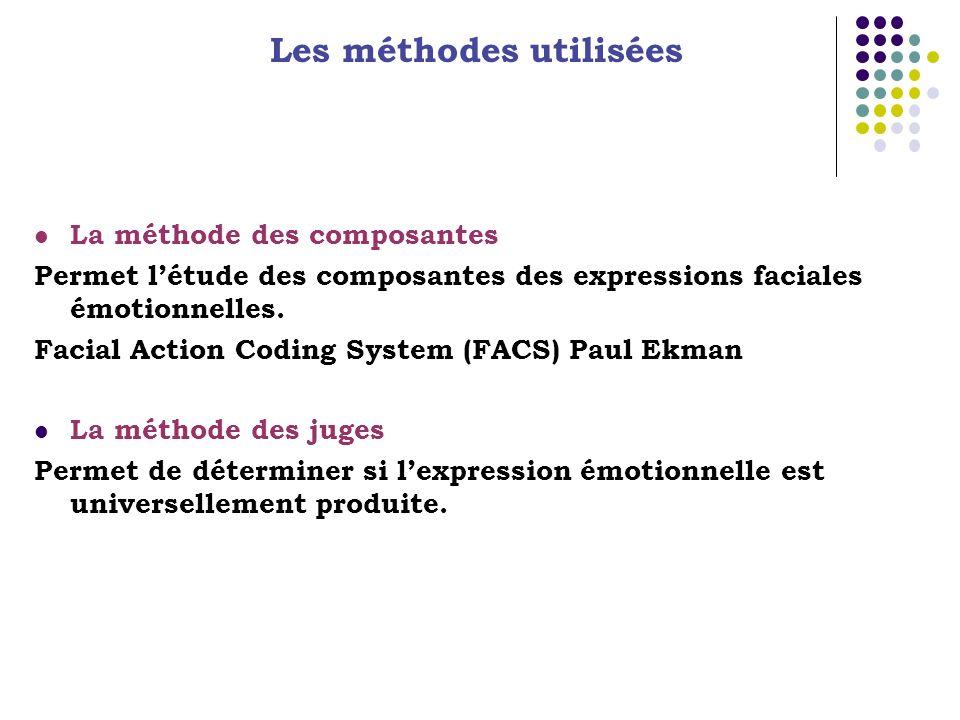 Les méthodes utilisées La méthode des composantes Permet létude des composantes des expressions faciales émotionnelles. Facial Action Coding System (F