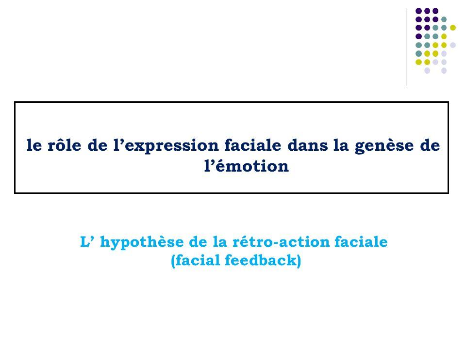 le rôle de lexpression faciale dans la genèse de lémotion L hypothèse de la rétro-action faciale (facial feedback)