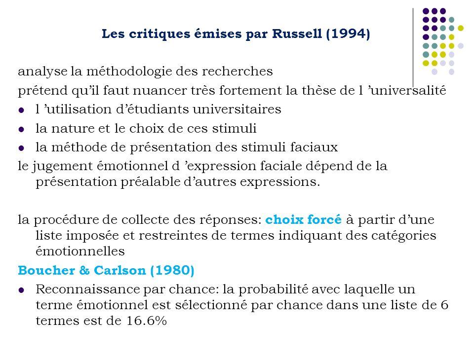 Les critiques émises par Russell (1994) analyse la méthodologie des recherches prétend quil faut nuancer très fortement la thèse de l universalité l u