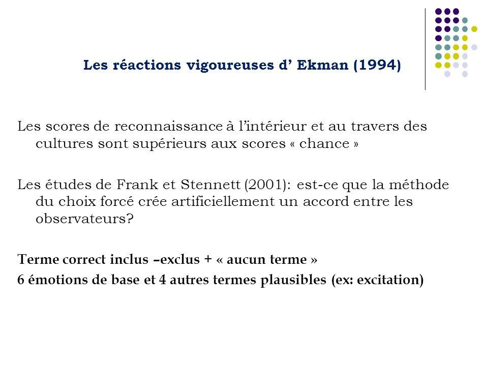 Les réactions vigoureuses d Ekman (1994) Les scores de reconnaissance à lintérieur et au travers des cultures sont supérieurs aux scores « chance » Les études de Frank et Stennett (2001): est-ce que la méthode du choix forcé crée artificiellement un accord entre les observateurs.