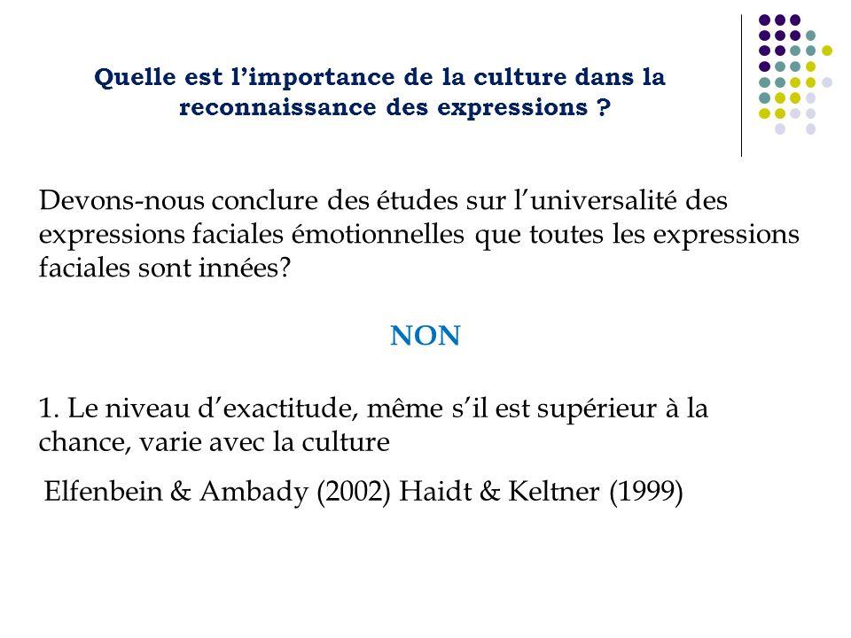Quelle est limportance de la culture dans la reconnaissance des expressions ? Devons-nous conclure des études sur luniversalité des expressions facial