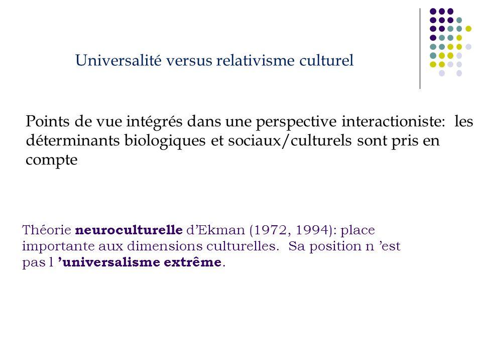 Théorie neuroculturelle dEkman (1972, 1994): place importante aux dimensions culturelles. Sa position n est pas l universalisme extrême. Universalité