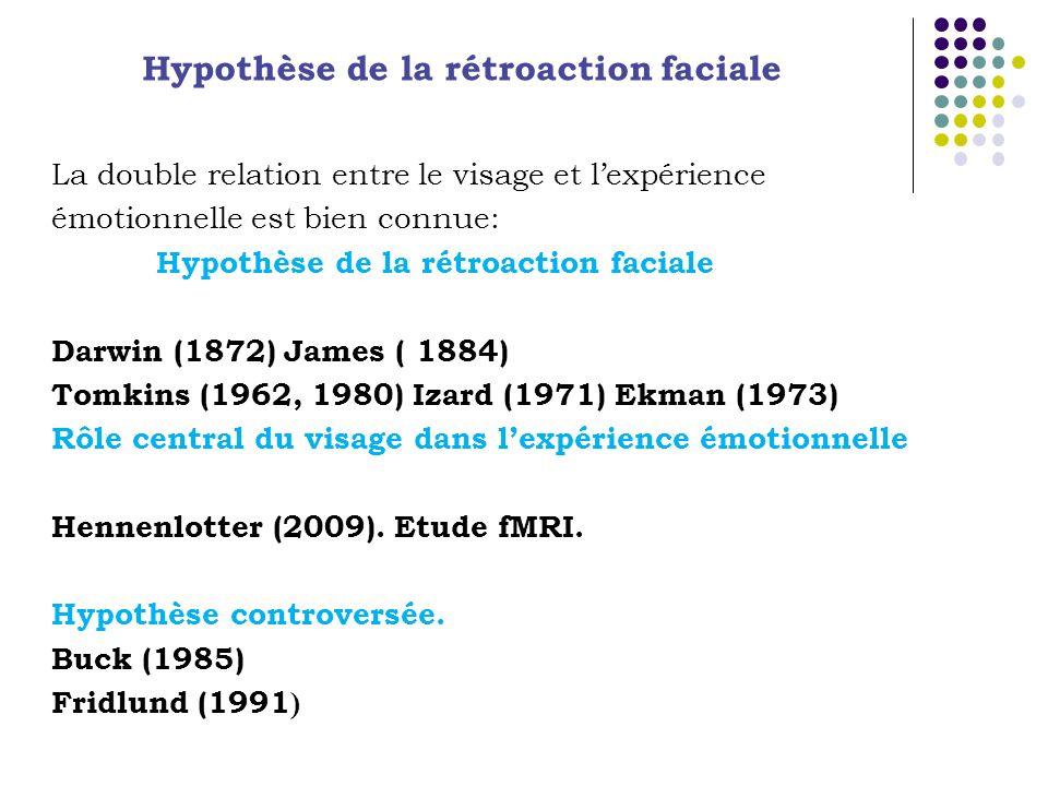 La double relation entre le visage et lexpérience émotionnelle est bien connue: Hypothèse de la rétroaction faciale Darwin (1872) James ( 1884) Tomkins (1962, 1980) Izard (1971) Ekman (1973) Rôle central du visage dans lexpérience émotionnelle Hennenlotter (2009).