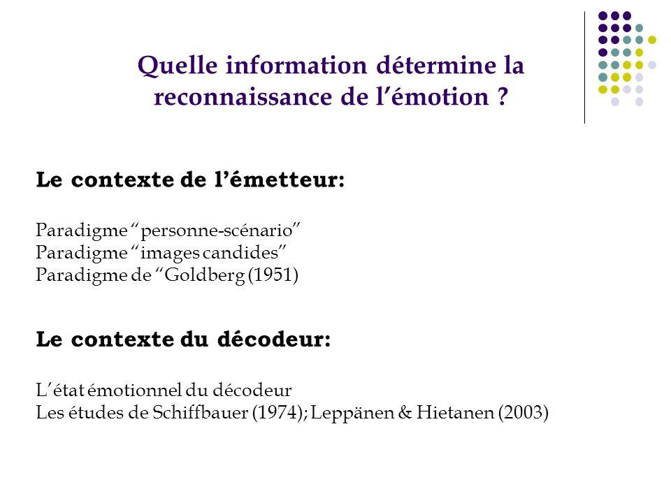 Quelle information détermine la reconnaissance de lémotion ? Le contexte de lémetteur: Paradigme personne-scénario Paradigme images candides Paradigme