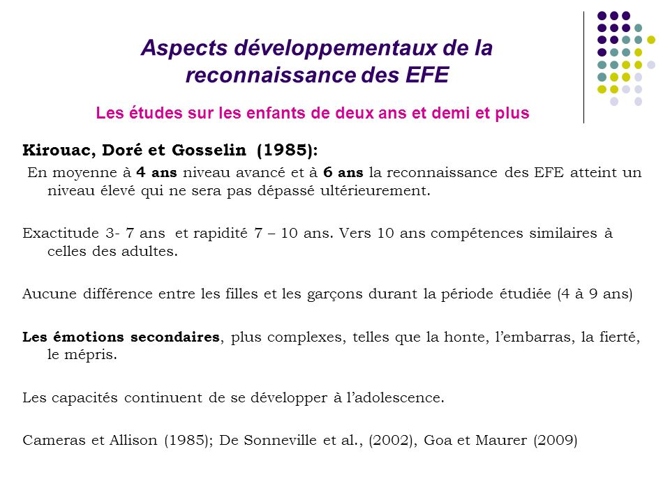 Kirouac, Doré et Gosselin (1985): En moyenne à 4 ans niveau avancé et à 6 ans la reconnaissance des EFE atteint un niveau élevé qui ne sera pas dépassé ultérieurement.