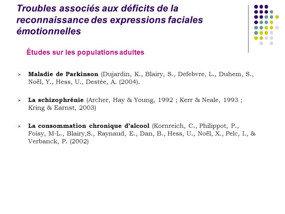 Troubles associés aux déficits de la reconnaissance des expressions faciales émotionnelles Maladie de Parkinson (Dujardin, K., Blairy, S., Defebvre, L., Duhem, S., Noël, Y., Hess, U., Destée, A.