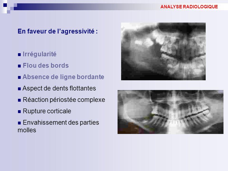 En faveur de lagressivité : Irrégularité Flou des bords Absence de ligne bordante Aspect de dents flottantes Réaction périostée complexe Rupture corticale Envahissement des parties molles ANALYSE RADIOLOGIQUE