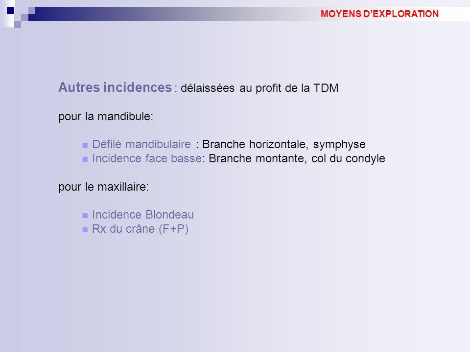 Autres incidences : délaissées au profit de la TDM pour la mandibule: Défilé mandibulaire : Branche horizontale, symphyse Incidence face basse: Branch