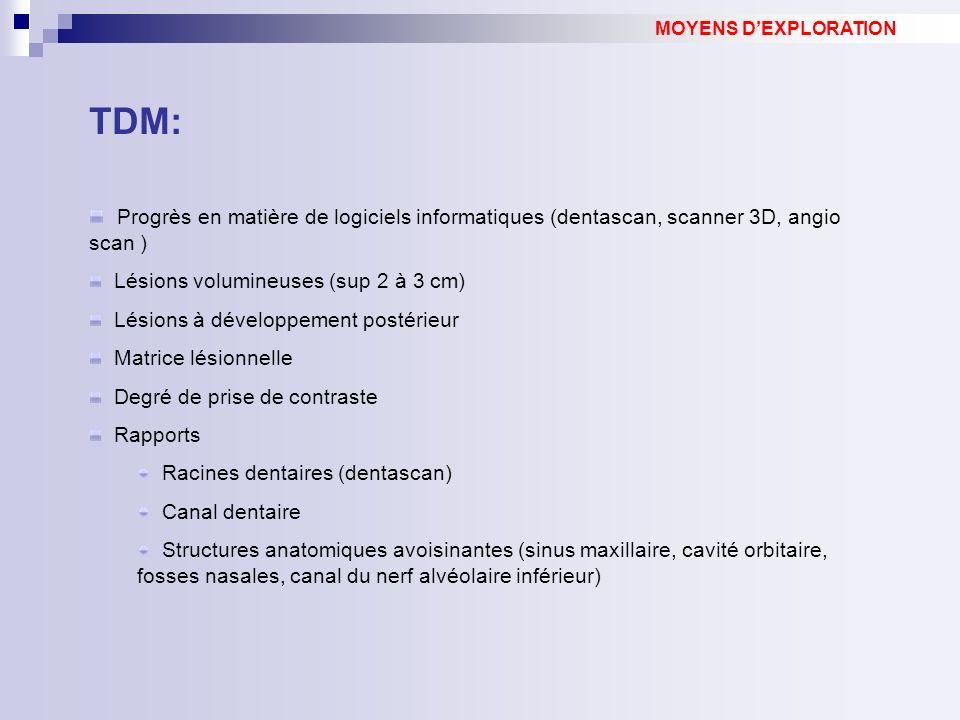 TDM: Progrès en matière de logiciels informatiques (dentascan, scanner 3D, angio scan ) Lésions volumineuses (sup 2 à 3 cm) Lésions à développement postérieur Matrice lésionnelle Degré de prise de contraste Rapports Racines dentaires (dentascan) Canal dentaire Structures anatomiques avoisinantes (sinus maxillaire, cavité orbitaire, fosses nasales, canal du nerf alvéolaire inférieur) MOYENS DEXPLORATION