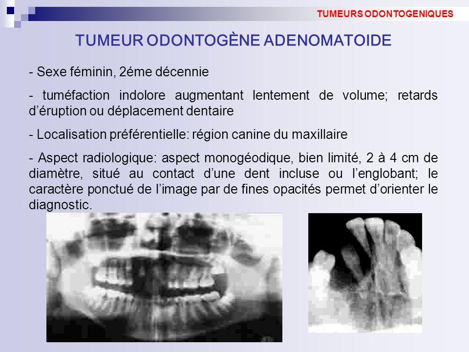 - Sexe féminin, 2éme décennie - tuméfaction indolore augmentant lentement de volume; retards déruption ou déplacement dentaire - Localisation préférentielle: région canine du maxillaire - Aspect radiologique: aspect monogéodique, bien limité, 2 à 4 cm de diamètre, situé au contact dune dent incluse ou lenglobant; le caractère ponctué de limage par de fines opacités permet dorienter le diagnostic.
