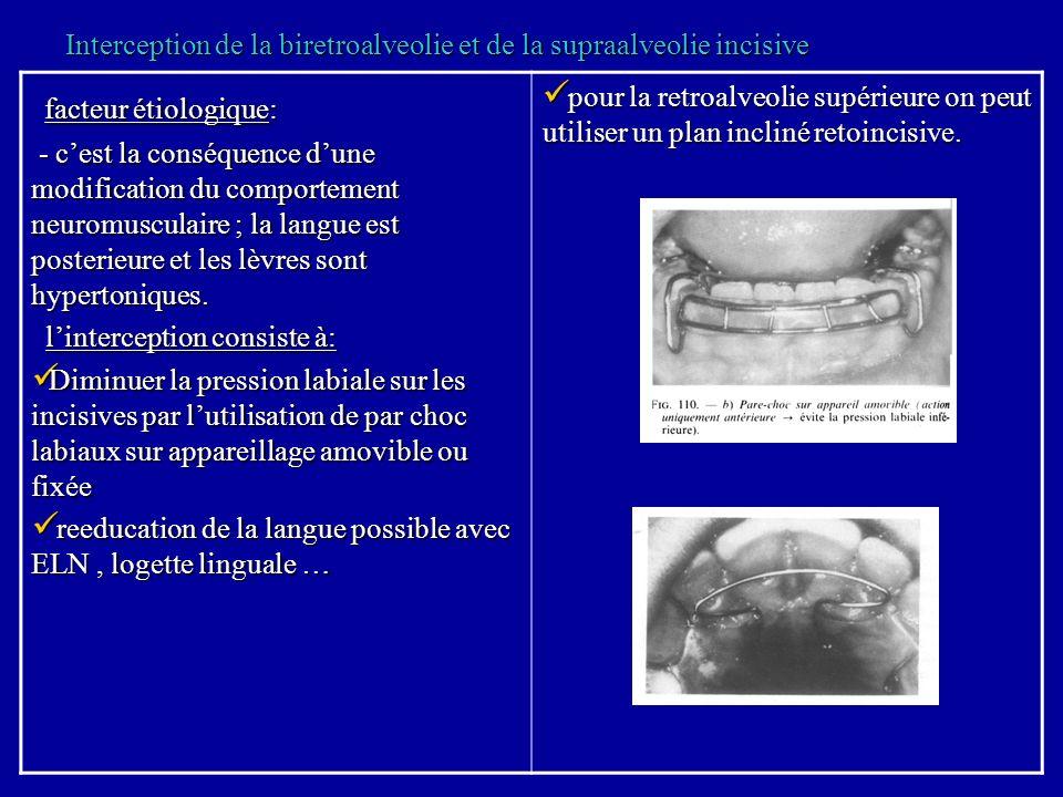 Interception de la biretroalveolie et de la supraalveolie incisive facteur étiologique: facteur étiologique: - cest la conséquence dune modification d