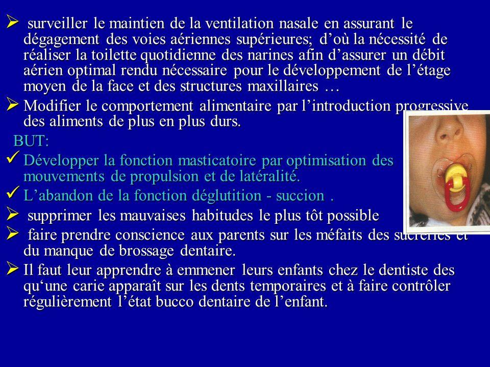 surveiller le maintien de la ventilation nasale en assurant le dégagement des voies aériennes supérieures; doù la nécessité de réaliser la toilette qu