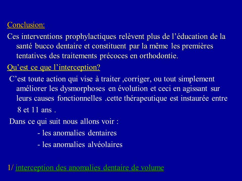 Conclusion: Ces interventions prophylactiques relèvent plus de léducation de la santé bucco dentaire et constituent par la même les premières tentativ
