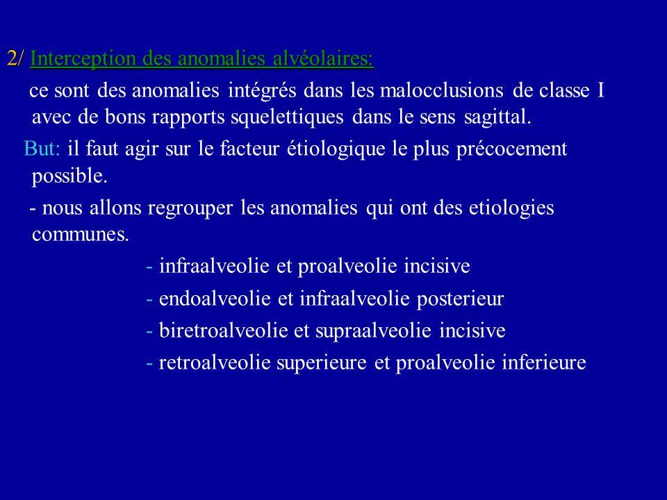 2/ Interception des anomalies alvéolaires: ce sont des anomalies intégrés dans les malocclusions de classe I avec de bons rapports squelettiques dans
