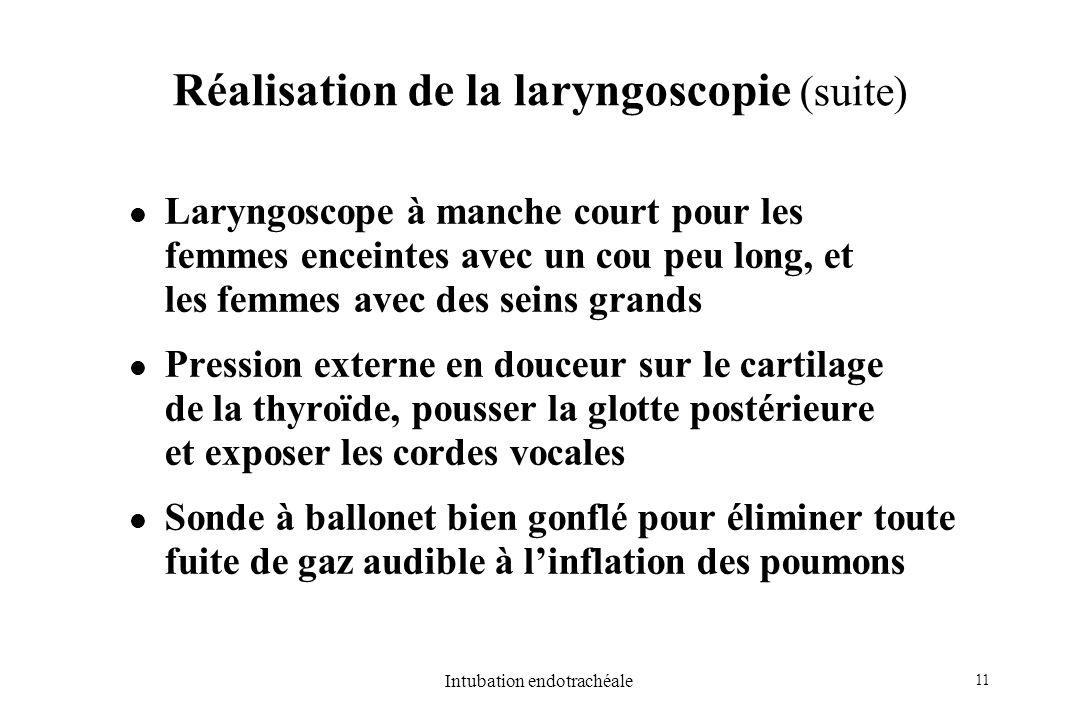 11 Intubation endotrachéale Réalisation de la laryngoscopie (suite) Laryngoscope à manche court pour les femmes enceintes avec un cou peu long, et les