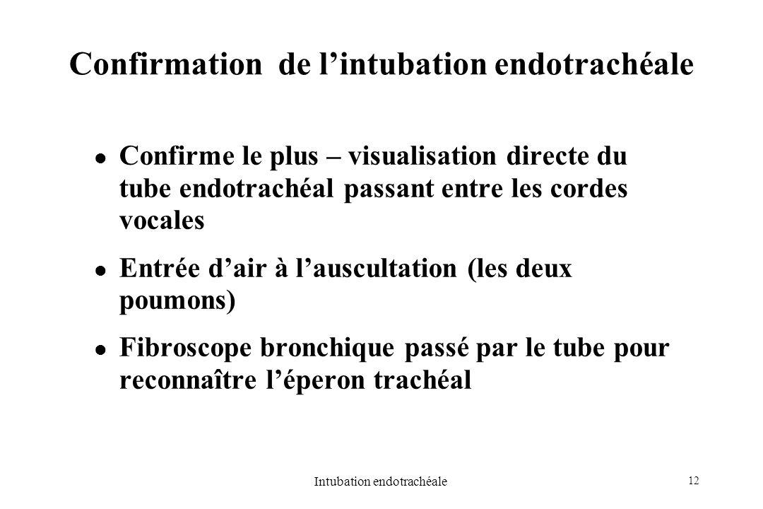 12 Intubation endotrachéale Confirmation de lintubation endotrachéale Confirme le plus – visualisation directe du tube endotrachéal passant entre les
